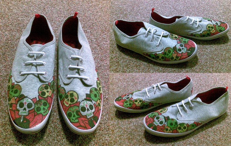 sugar skull shoes by zombiemoose on DeviantArt