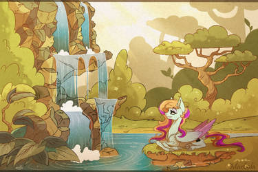 Commission: Relaxing near Waterfall by Marbola