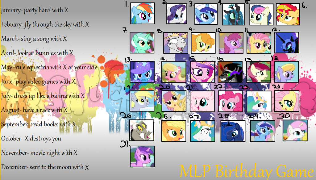 MLP Birthday Game by cyndertheundeadruler on DeviantArt