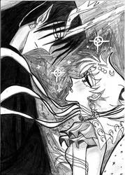 Usagi and Prince of Darkness in Selenit Saturn TV by Selenit-Saturn
