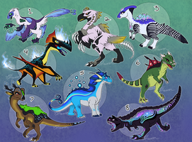 Fantasy Dinosaur Adoptables - CLOSED by AbsoluteDream