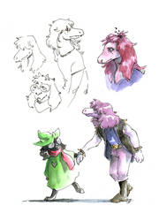 Ralsei and  Susie sketch by Lost-Opium