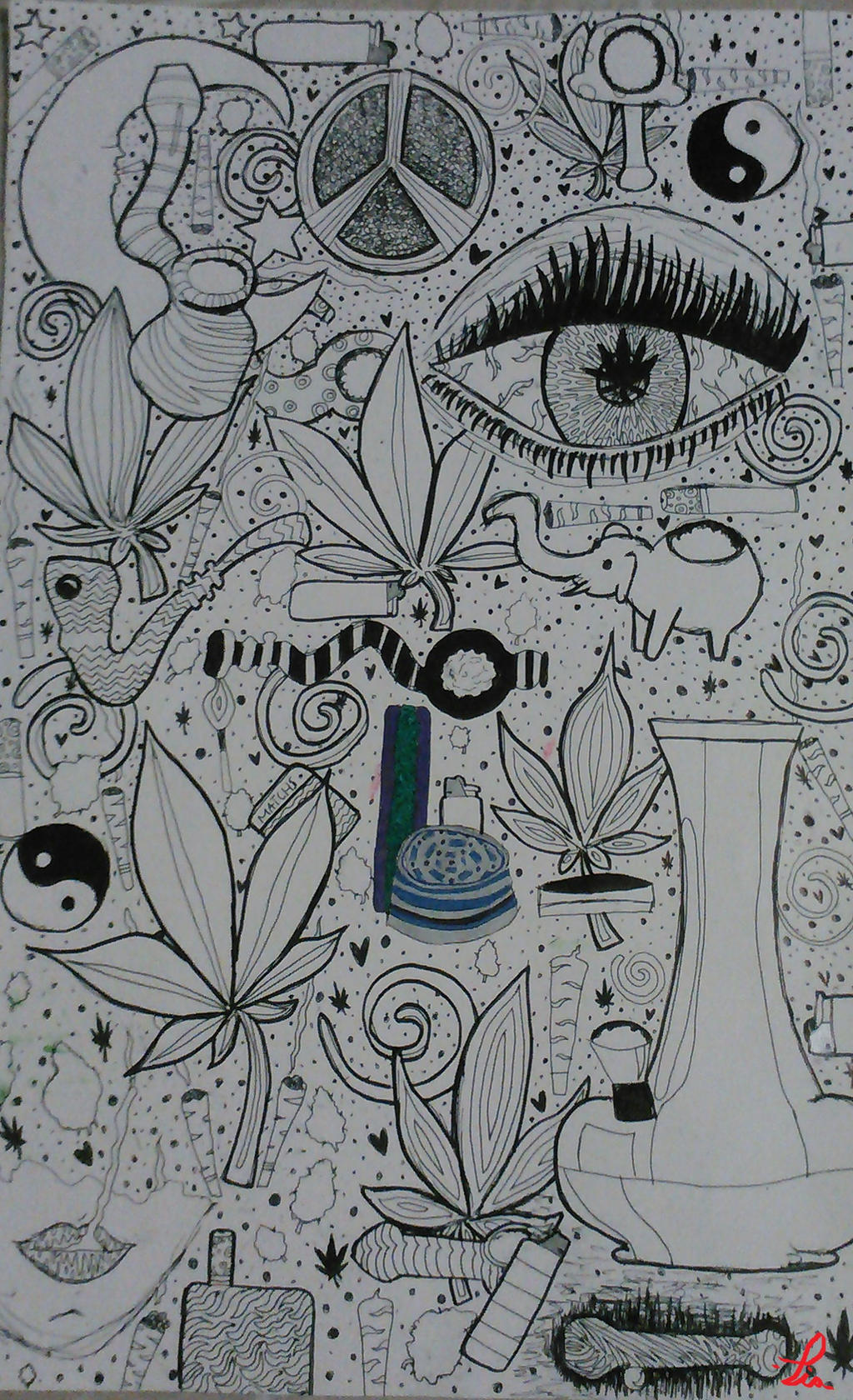 Half Done Weed Poster Still Needs Color By Xx Trippy Pot Leaf Coloring Pages