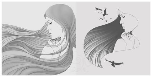 Girls, hair, birds by kanikkefly