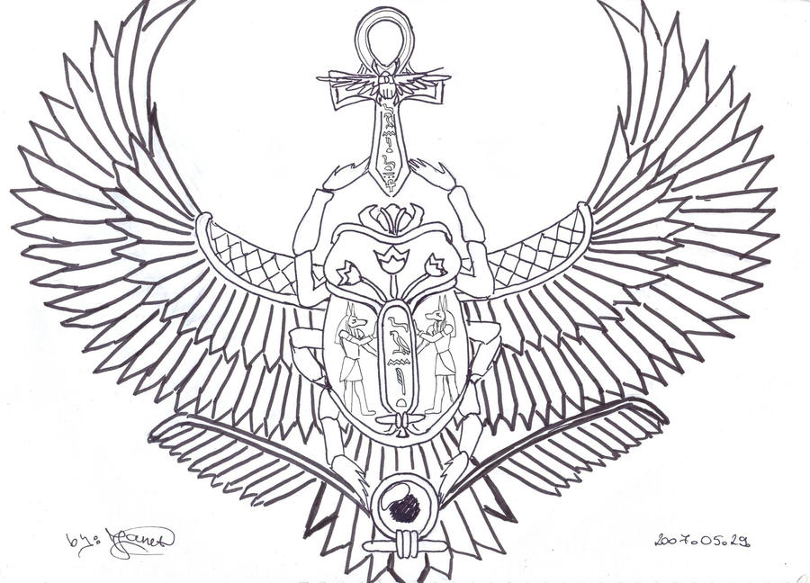 My winged scarab tattoo by janet asuka on deviantart for Scarab tattoo designs