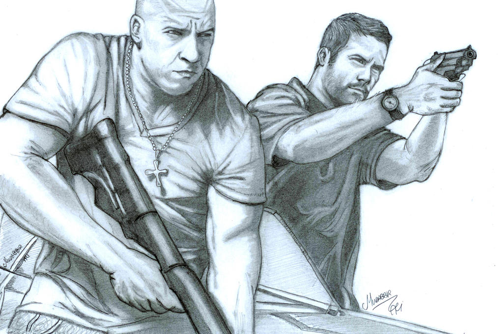 vin diesel and paul walker in fast and furious by mudabbirali on ... - Fast Furious Coloring Pages