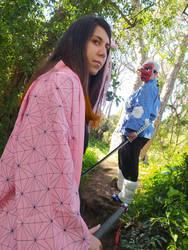 Nezuko and Urokodaki Cosplay