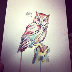 Owl #3 in gouache and ink