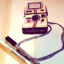 Polaroid in gouache and ink