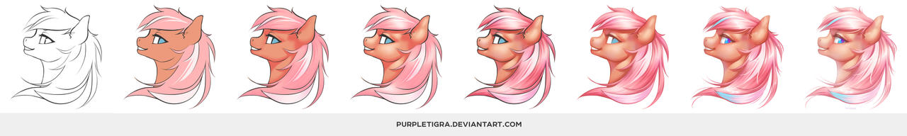 Step by step - From lineart to full-color by purpletigra