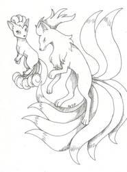 Art Project #9 (Pokemon)- Vulpix and Ninetails by Proxamina