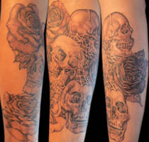 skulls and roses by Pallat