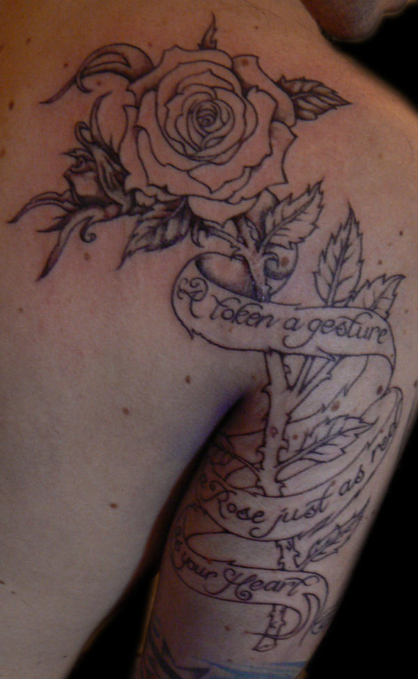 script tattoo. Rose with script tattoo by