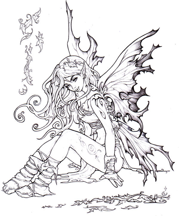fall fairy coloring pages - photo#1