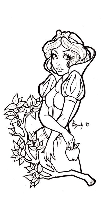 Snow White Lineart by BlueUndine