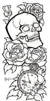 Skull Tattoo Design Lineart by BlueUndine