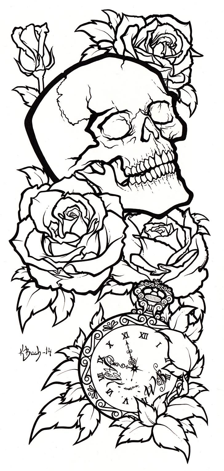 Line Drawing Tattoo Sleeve : Skull tattoo design lineart by blueundine on deviantart