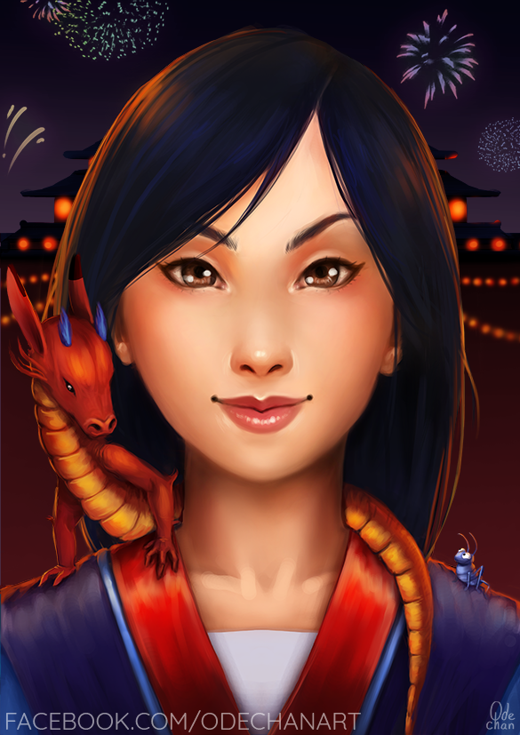 Mulan, Mushu and Cricket by Ode-Chan