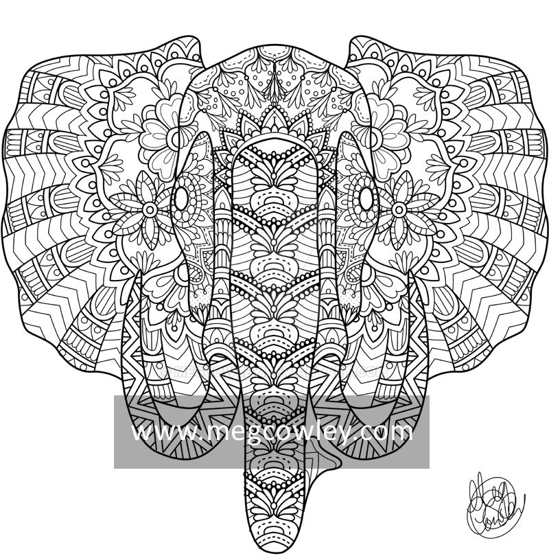 African Bush Elephant (The Exotic Colouring Book) by megcowley