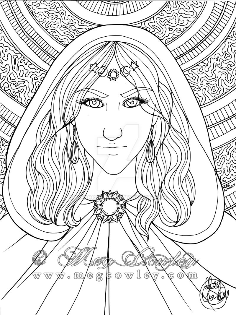 Sorceress (Fantasy Creatures Colouring Book) by megcowley
