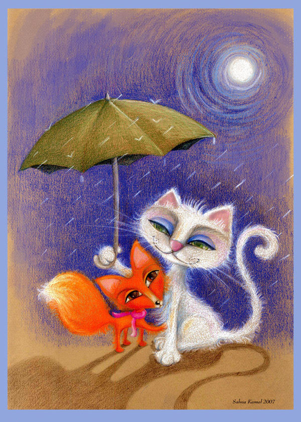 cat nd fox by coloredsoul