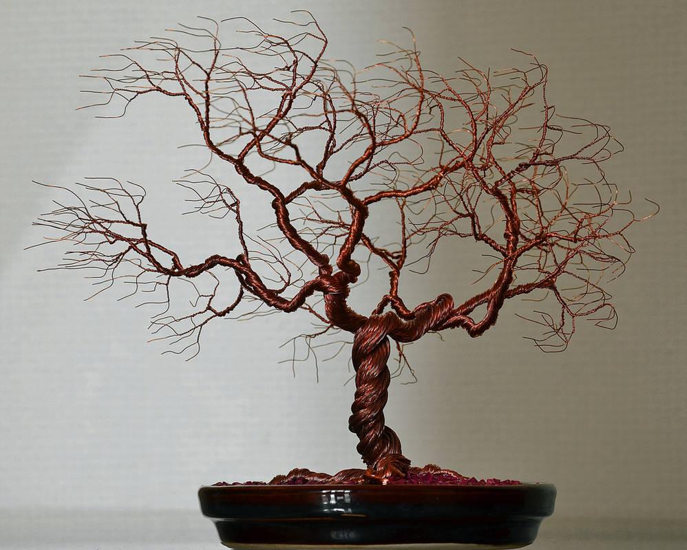 Wind swept wire tree sculpture by minskis