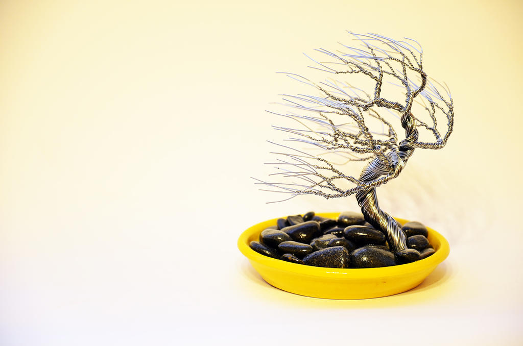 Wind swep bonsai wire tree sculpture by minskis