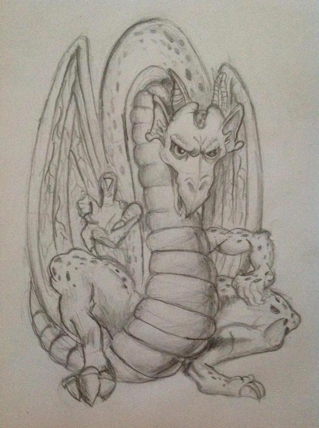dragon pencil drawing by polka dot elephant on deviantart
