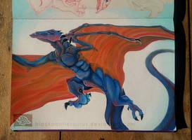 Blue Wyvern - Acrylic painting in Sketchbook by Pantiesaurus