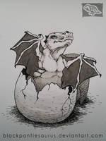 Inktober #6 - hatching baby dragon by Pantiesaurus