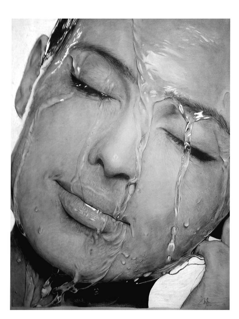 Water on face pencil drawing by arisirfani