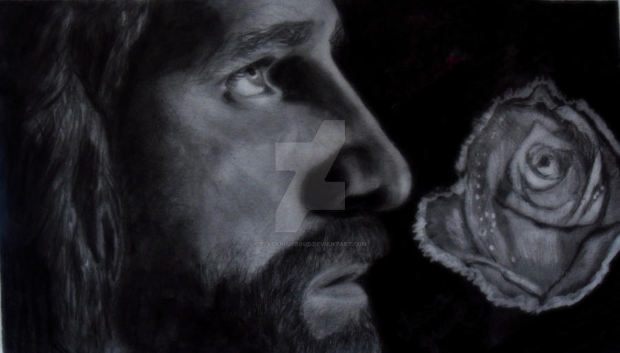 Rose of Sharon Graphite Drawing of Jesus by blacknimproud