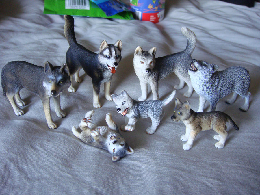 Wolf Family Toy : Schleich wolf and husky family by vesperwolfy on deviantart