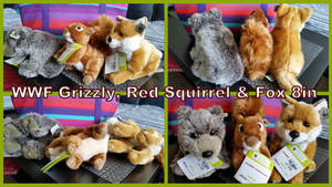 WWF Grizzly, Red squirrel and fox 8in
