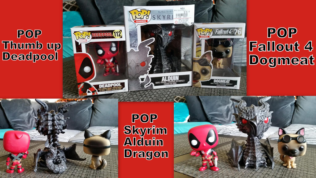 FUNKO POP Figures Deadpool, Alduin, and Dogmeat by