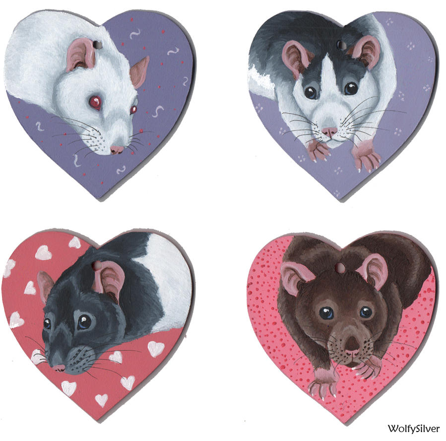 Rat Wooden Hearts by wolfysilver