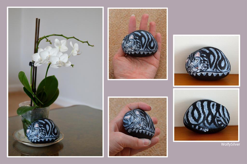 Silver Tabby Stone Art by wolfysilver