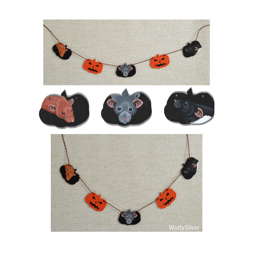 Halloween Rat Garland by wolfysilver