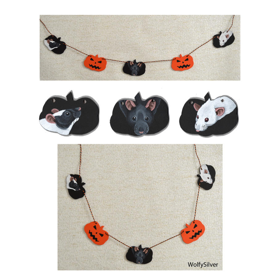 Halloween Rat Garland 3 by wolfysilver