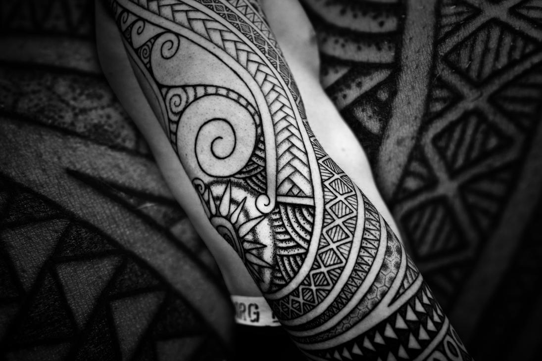 Polynesian sleeve, pro-photo by Meatshop-Tattoo
