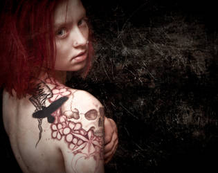Shoulder skull, pro-photo 2 by Meatshop-Tattoo