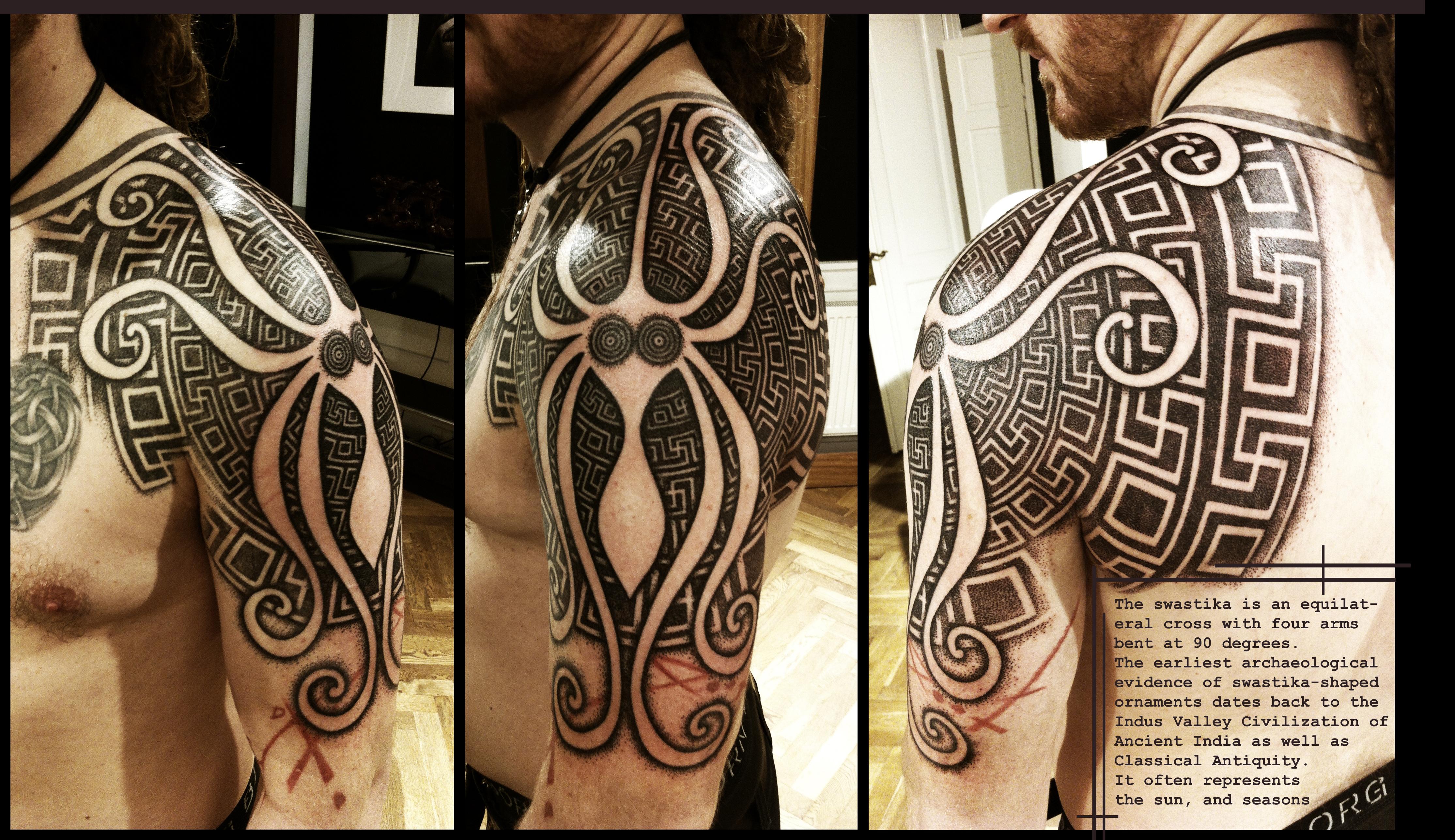 Greek Swastika shoulderpiece by Meatshop-Tattoo
