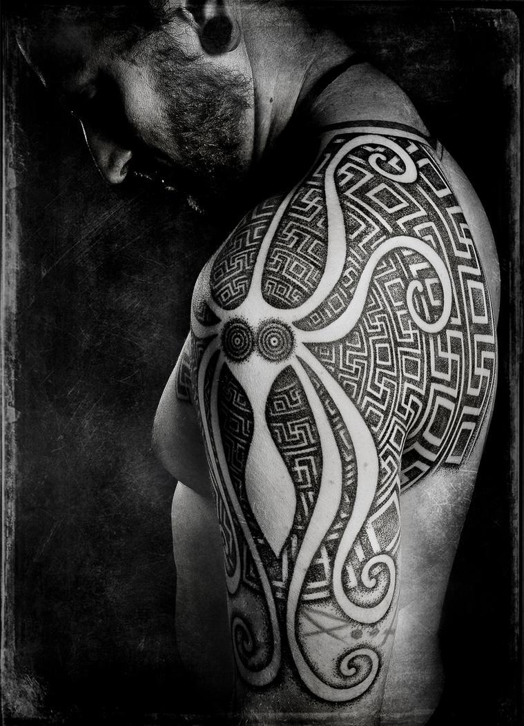 Minoan squid and greek swastikas, pro photo by Meatshop-Tattoo