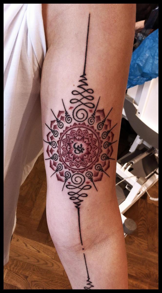 Unalome Mandala tattoo by Meatshop-Tattoo