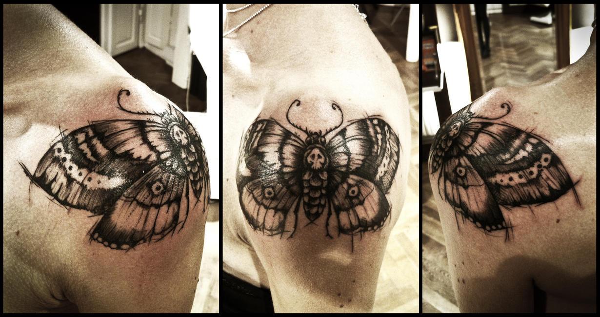 Deathhead moth tattoo by Meatshop-Tattoo