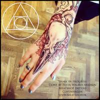 Sleeve of Black bird skull tattoos by Meatshop-Tattoo