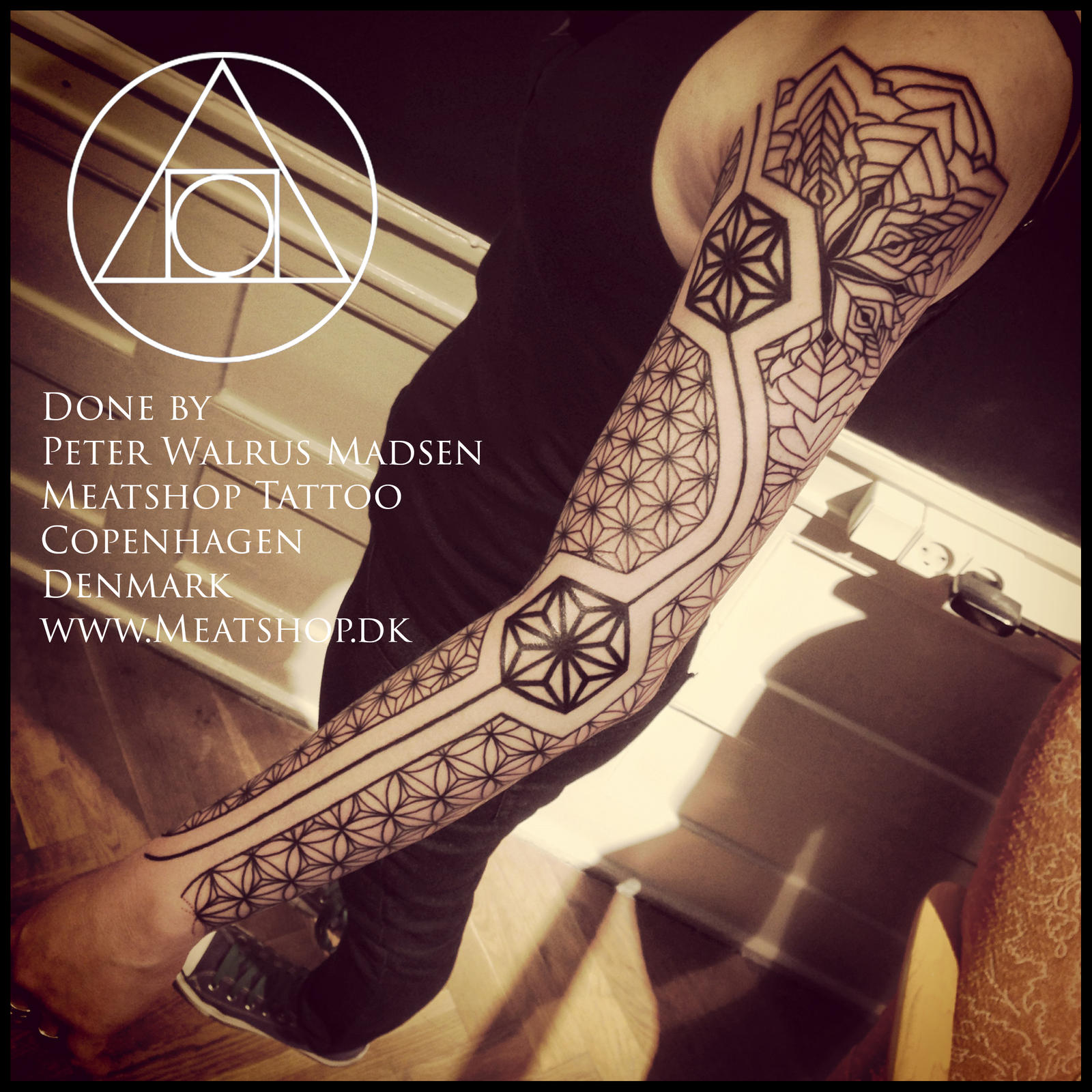 Sleeve of Asanoha tattoo by Meatshop-Tattoo