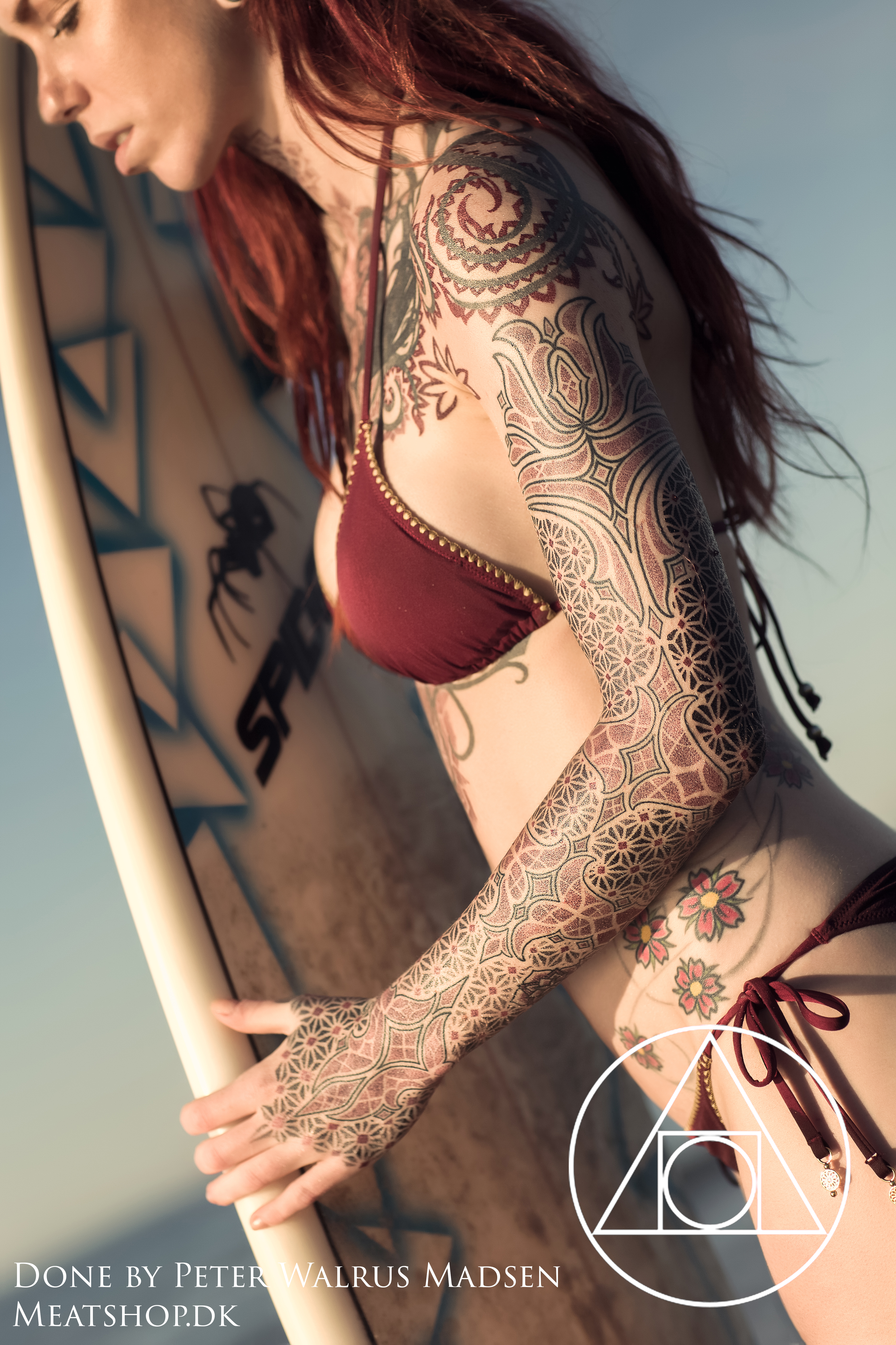 Surferbabe geometry sleeve tattoo by Meatshop-Tattoo