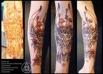 Poppyskull victorian tattoo by Meatshop-Tattoo