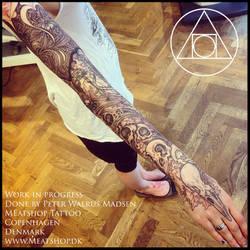 Corvidae sleeve tattoo by Meatshop-Tattoo